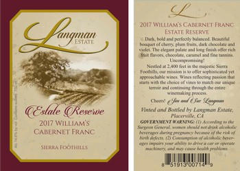 2017 Estate Reserve William's Cabernet Franc